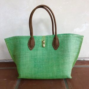 LILLY PULITZER X-Lg Green Straw Pineapple Tote Bag